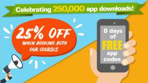 Celebrating 250,000 app downloads 25% off courses